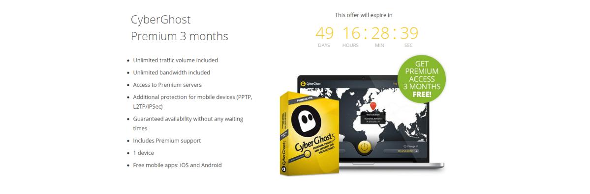 Cyberghost - 3 Monate kostenlos